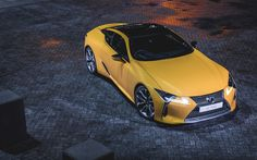 Download wallpapers Lexus LC 500, 2018, Sports car, yellow LC, 4K, Japanese cars, Lexus