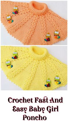 baby kleidung Crochet Fast And Easy Baby Girl Poncho - Crochet and Knitting Patterns Baby Girl Crochet, Crochet Baby Clothes, Crochet For Kids, Easy Crochet, Crochet Ideas, Crochet Summer, Crochet Poncho Patterns, Crochet Shawl, Baby Patterns