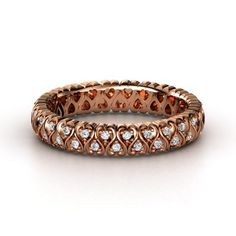 14K Rose Gold Ring with Diamonds - Covered completely in hearts and studded with 26 gems. $1,348 Gemvara