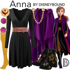 DisneyBound is meant to be inspiration for you to pull together your own outfits which work for your body and wallet whether from your closet or local mall. As to Disney artwork/properties: ©Disney Disney Bound Outfits Casual, Disney Princess Outfits, Cute Disney Outfits, Disney Dress Up, Casual Outfits, Princess Anna Costume, Work Outfits, Frozen Inspired Outfits, Frozen Outfits