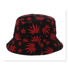 e39cbf1d74e All Over Print Mary Jane Weed Printed Bucket Hat in Red 100% Cotton One size