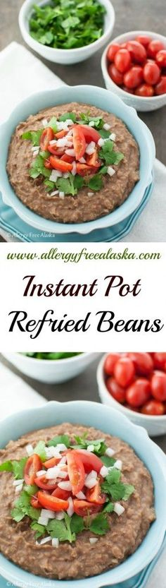 Pot Refried Beans - Allergy Free Alaska These Instant Pot Refried Beans Recipe from Allergy Free Alaska are superb!These Instant Pot Refried Beans Recipe from Allergy Free Alaska are superb! Mexican Food Recipes, Whole Food Recipes, Vegetarian Recipes, Healthy Recipes, Delicious Recipes, Vegan Vegetarian, Healthy Food, Pressure Cooking Recipes, Slow Cooker Recipes