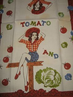 Vintage Tomato and Lettuce Farm Girl Pin Up Tea Kitchen Towel. $42.00, via Etsy.