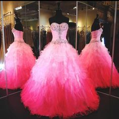 2016 Cheap Quinceanera Dresses Sweetheart Bling Crystal Beads Ruffles Tiered Gradual Color Ball Gown Long Hot Pink Long Pageant Prom Gowns Online with $159.17/Piece on Haiyan4419's Store | DHgate.com