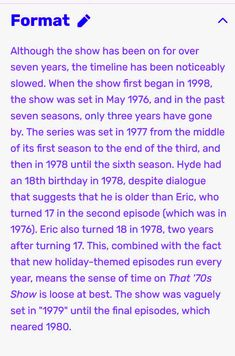 That 70's Show format.