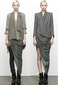 """Helmut Lang's signature draped dresses and leather jackets are for Pre-Fall 2012 interspliced with webby prints and burnouts — derived from the web ..."