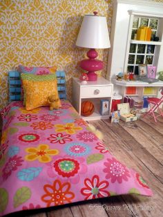Vivid and colorful teen bedroom. In the Barbie house 1:6 Scale Bed