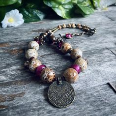 Pink Necklace, Boho Necklace, Gemstone Necklace, Gemstone Beads, Pendant Necklace, Handmade Jewelry Designs, Handmade Shop, Etsy Handmade, Handmade Items