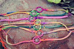 This Listing is for one Dream Catcher bracelet. These bracelets are handmade out of different multicolor string, wire and beads. Dream Catcher Bracelet, Macrame, I Shop, Beads, Bracelets, Handmade, Etsy, Beading, Hand Made