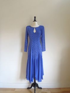 Vintage feathery periwinkle cocktail dress with by OldSchoolSwank