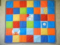 monster baby quilt - cute