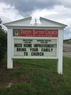 Trinity Baptist Church Christiansburg Va Church sign Fourth of July Church Sign Sayings, Funny Church Signs, Church Humor, Church Quotes, Funny Signs, Church Memes, True Sayings, Christian Humor, Christian Quotes