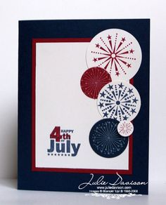 handmade Fourth of July card: July Fourth Fireworks by juls716 ... clean design elements ... fireworks stamped on red, white and blue paper and then punched with variious sizes of circle punches ... lovely card ... Stampin' Up!