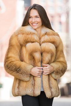 Heavenly warmth and softness surround you in our red fox fur jacket, lavished with a cross-cut collar of Canadian gold fox fur. Free shipping   returns.