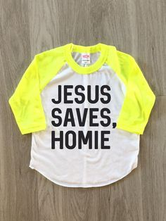 Jesus Saves Homie Raglan  baby boy or girl by 8thWonderOutfitters
