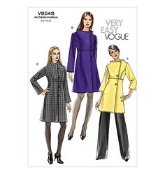 "Vogue 8548. MISSES' COAT: Lined coats A, B, C in two lengths have bodice with princess seams, A-line skirt, closure variations and sleeves in two lengths. A, B: topstitching. B, C: cording button loops. B, C: length is 2"" above mid-knee."