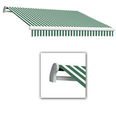 Beauty-Mark 18 ft. Maui-AT Model Left Motor Retractable Awning (120 in. Projection) in Forest Green/White