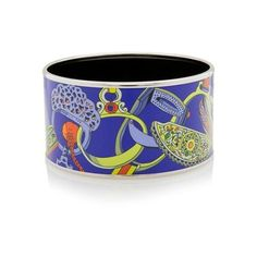 Pre-Owned Hermes Concours d'Etriers Extra Wide Printed Enamel Bracelet ($625) ❤ liked on Polyvore featuring jewelry, bracelets, blue, blue bangles, preowned jewelry, enamel jewelry, blue jewelry and wide bangle