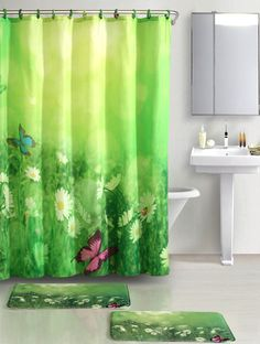 Butterfly Meadow™ Printed Fabric Shower Curtain #VictoriaClassicsLtd