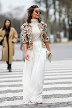 Camila Coelho wears a Chanel jacket a white dress a Chanel bag outside Chanel during Paris Fashion Week Haute Couture Spring/Summer 2018 on January. Dress Indian Style, Indian Fashion Dresses, Indian Designer Outfits, Fashion Outfits, Indian Outfits, Modest Fashion, Fashion Ideas, Couture Week, Stylish Dress Designs