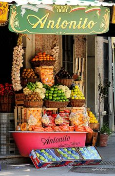 Fruit Stand, Buenos Aires, Argentina - great use for an old bathtub...