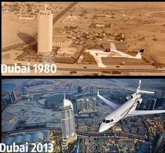 From the desert to the biggest growing city on planet earth. That's the miracle of Dubai! Nowadays, as you probably know, Dubai is a cosmopolitan oasis, a futuristic cityscape that towers over the … Dubai City, Dubai Uae, Dubai 1990, Then And Now Pictures, Cities, Amazing Transformations, Photos Voyages, Historical Pictures, United Arab Emirates