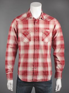 Lucky Brand® Mens Red Long Sleeve Western Shirt.  Rugged meets casual with this long-sleeved western shirt in red plaid. Features a classic button-down style, two front flap pockets that snap closed, and sleeves that end in fitted cuffs for a comfortable fit.