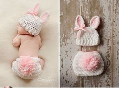Newborn pink Rabbit Baby Infant Knit Sweater Crochet Photography Prop costume