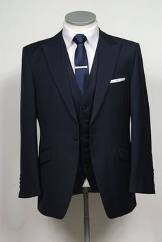 grooms wedding suit in navy slim fit light weight wool with classic waistcoat. Wedding Suit Hire, Tweed Wedding Suits, Best Wedding Suits, Blue Suit Wedding, Wedding Dress, Trendy Wedding, Navy Blue Groom, Navy Blue Suit, Black Suits