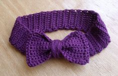 Items similar to Hipster Bow Headband in Grape on Etsy Crochet Bows, Crochet Beanie, Love Crochet, Learn To Crochet, Crochet For Kids, Crochet Headbands, Knit Crochet, Moda Retro, Diy Headband