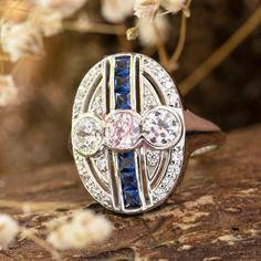 Three Stone Edwardian Style Women's Ring- Art Deco Round Cut Old European Woman's Trendy Ring- Fancy Blue Princess Cut Estate Ring Edwardian Ring, Edwardian Fashion, Estate Rings, Princess Cut Rings, Female Art, Art Deco, Fancy, Stone, Womens Fashion