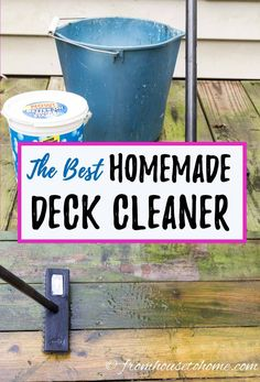 This is a great tutorial for how to make deck cleaner using oxygen bleach. This easy deck cleaning solution really makes my old wood deck look brand new again! It works great for siding, composite decks and outdoor furniture, too! Homemade Outdoor Furniture, Natural Wood Furniture, Deck Furniture, Kids Furniture, Cleaning Deck Wood, Porches, Clean Siding, Deck Brush, Deck Cleaner