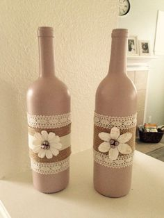 Decorative wine bottle by CountryChicCreation on Etsy