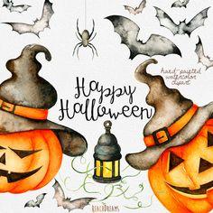 Halloween watercolor clipart: Pumpkins, hats, lamp, spider, bats Perfect graphic for