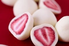 These frozen strawberry yogurt bites would be a perfect snack!