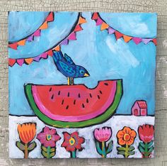 A personal favorite from my Etsy shop https://www.etsy.com/listing/530733990/small-watermelon-folk-art-painting