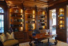 www.pinterest.com/1895gunner/   Gun Room Bookcases Office Den, Study Office, Office Spaces, Library Room, Dream Library, Home Office Design, House Design, Interior Exterior, Interior Design