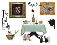 """""""The Cat Lady Gifts"""" by deesweetnostalgia ❤ liked on Polyvore featuring interior, interiors, interior design, home, home decor and interior decorating"""