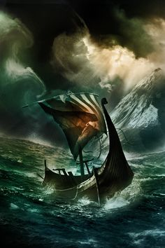storm- with a Viking ship.