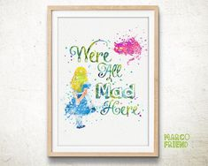 Disney Alice in Wonderland Watercolor Art Print - Home Decor - Wall Art - Watercolor Painting - Nursery Decor - Gifts - Kids Decor - 39