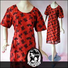 Vintage 1960s Organza MOD Velvet Printed Oriental Deep Red Cocktail Dress 12UK
