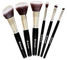 Travel Makeup Brush Set - Professional Kit with 6 Essential Face and Eye Makeup Brushes - Kabuki Eyeshadow Powder Foundation Blush - Synthetic Bristles of Premium Quality for Airbrushed Finish - Available in White and Black ** Want to know more, click on the image.