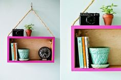 Store photos and trinkets in this bright DIY shelf.