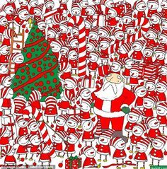 Mind-boggling puzzle challenges you to find festive accessory in Christmas quiz Christmas Quiz, Christmas Mood, Christmas Games, Xmas, Find Santa, Hidden Images, Theme Noel, Brain Teasers, Red Hats