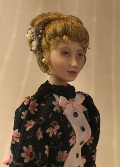Miniature Porcelain Dollhouse Doll in 1:12 or 1/12th Scale/Late Victorian Lady by LillisLittles on Etsy