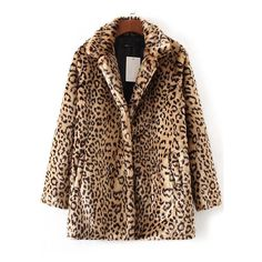 Leopard Button Up Faux Fur Coat ($48) ❤ liked on Polyvore featuring outerwear, coats, leopard faux fur coat, faux fur coat, brown faux fur coat, fake fur coats and button up coat
