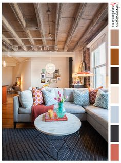 loft interior design, living room, interior color palettes, color combinations, color schemes, paint palettes, exposed concrete ceiling, dark gray area rug, pale blue sofa, sherwin williams coral reef