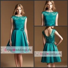 2014 Sexy New Sheer Cap Sleeves Lace Knee Junior Bridesmaid Dresses | Buy Wholesale On Line Direct from China