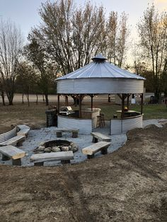 Used old grain bin and extra parts to create a gazebo and fire pit area Gazebo Foyer, Backyard Gazebo, Fire Pit Backyard, Backyard Landscaping, Diy Gazebo, Grill Gazebo, Gazebo Ideas, Outdoor Gazebos, Outdoor Spaces