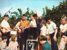 A colorized photo of John Lennon and The Quarrymen, July 6th, 1957.